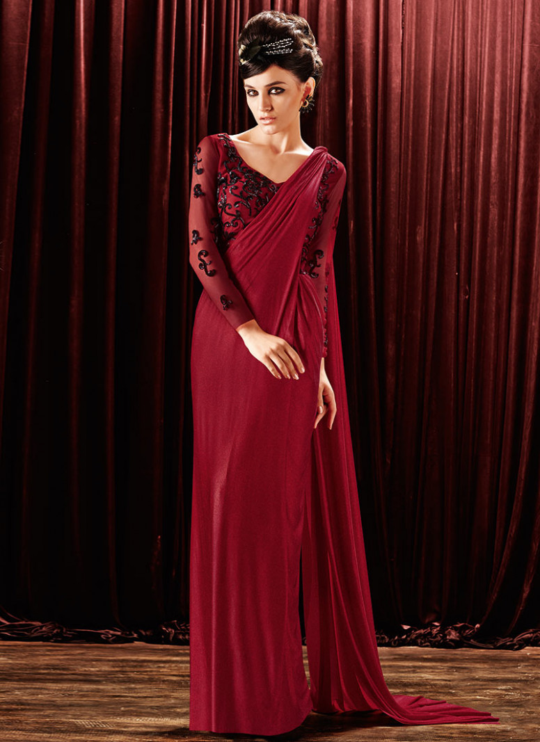 Buy Maroon Lycra Saree Gown, Party, dresses and gown