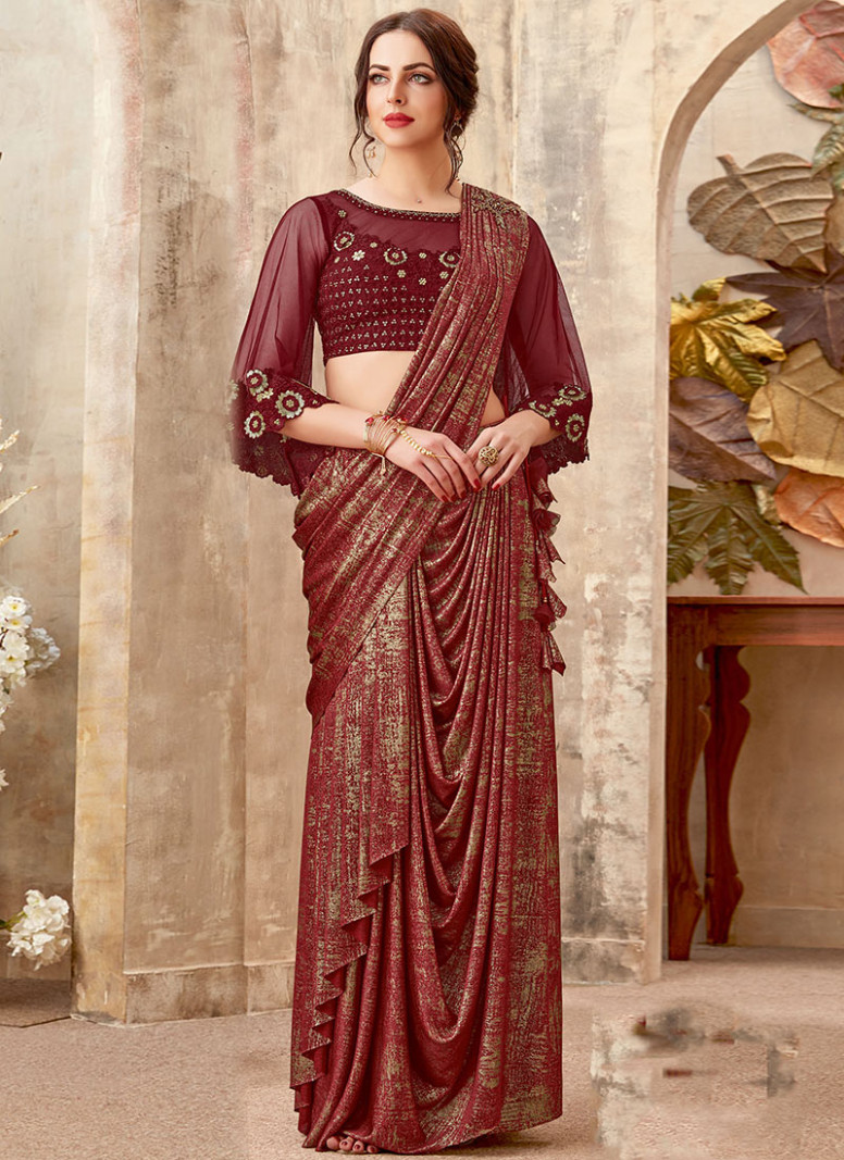 Buy Maroon N Gold Embroidered Indowestern Saree