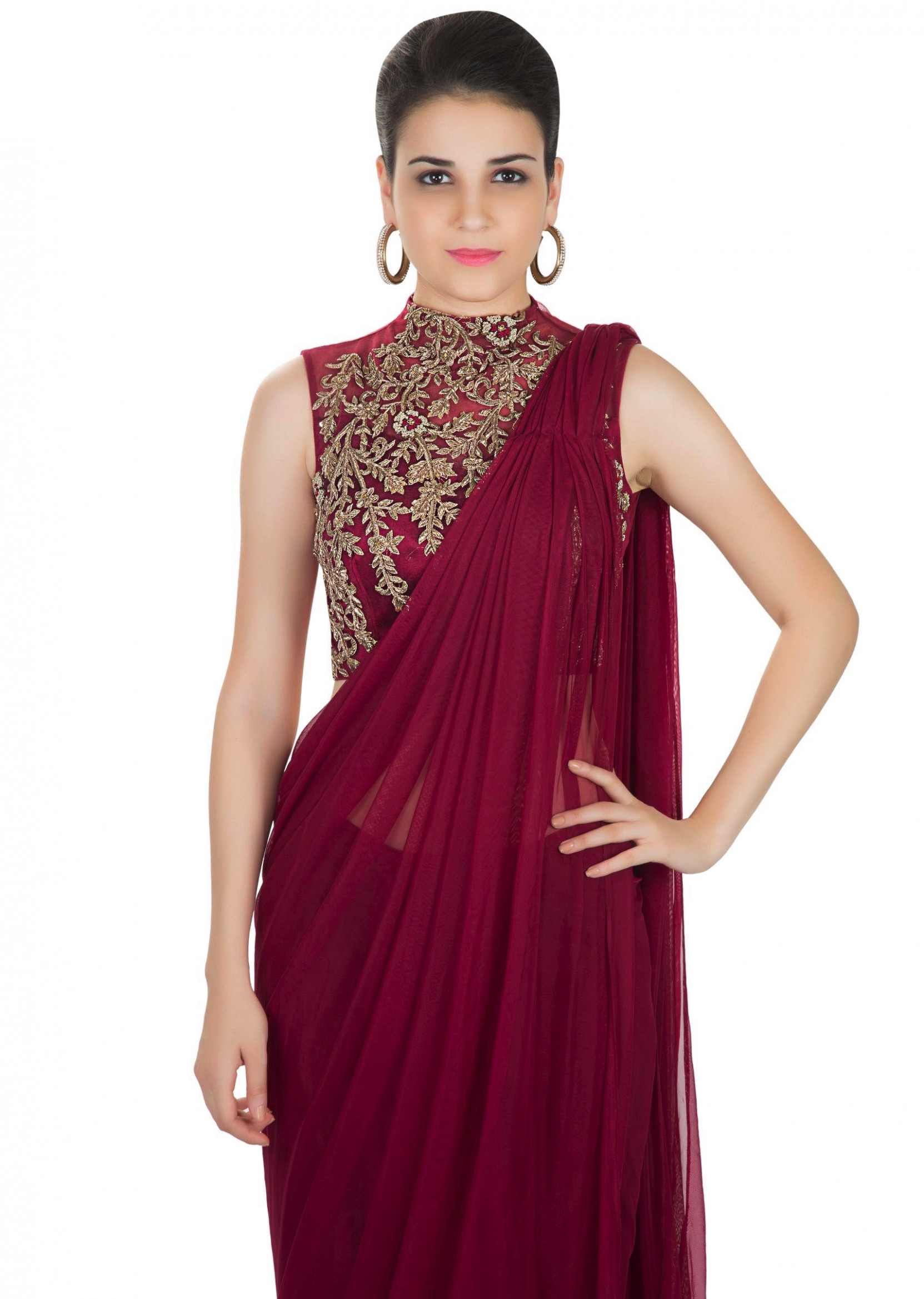 Buy Maroon Saree In Georgette Net With Embellished Net