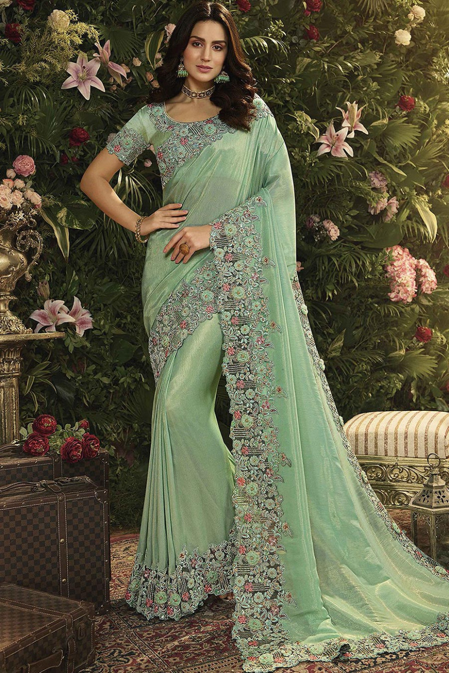 Buy Mint Green Floral Embroidered Saree Online  Like A Diva