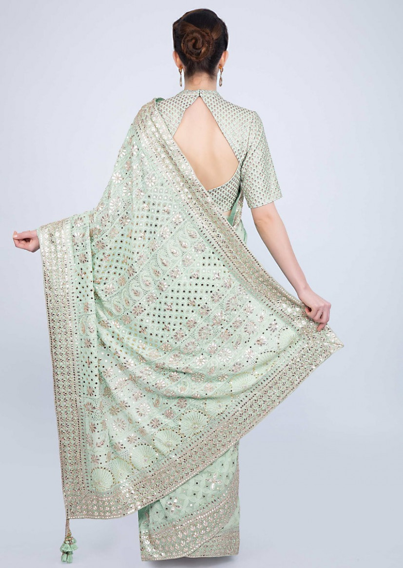 Buy Mint green saree in lucknowi embroidered georgette