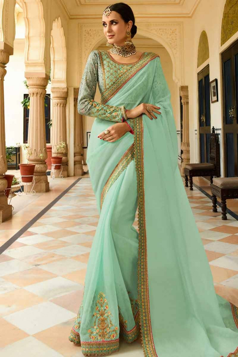 Buy Mint green Silk Saree With Silk Blouse Online