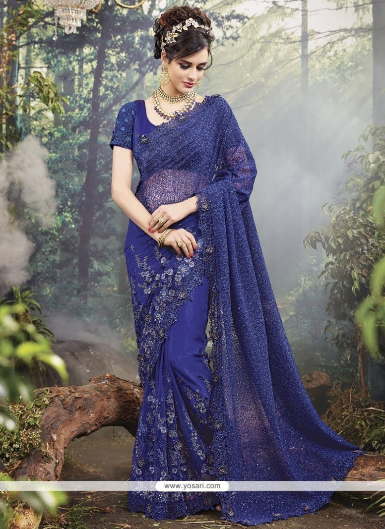 Buy Modest Navy Blue Saree  Wedding Sarees