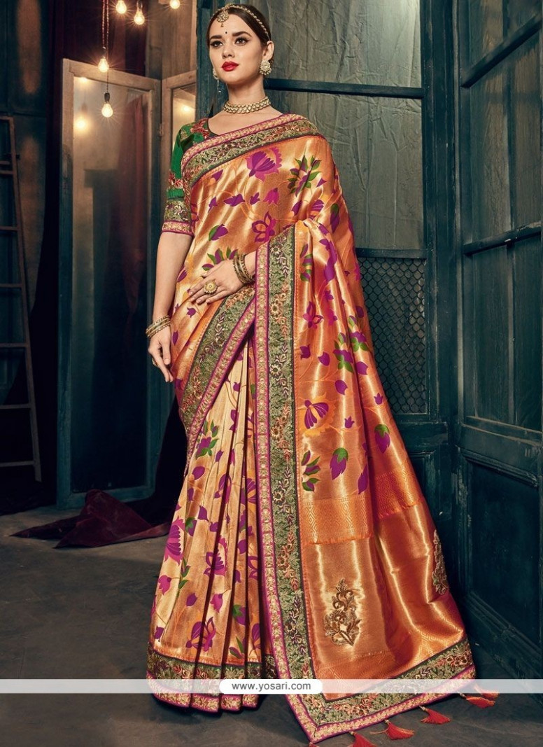 Buy Multi Colour Resham Work Designer Traditional Saree