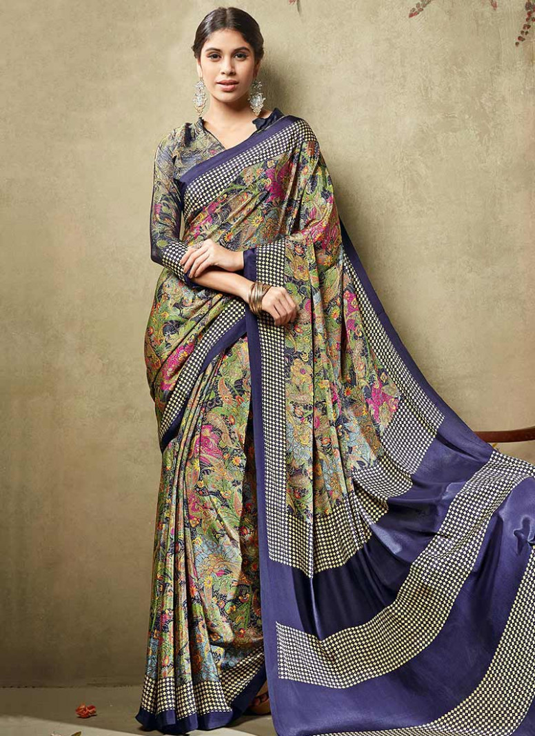 Buy Multicolored Crepe Silk Printed Saree, sari Online