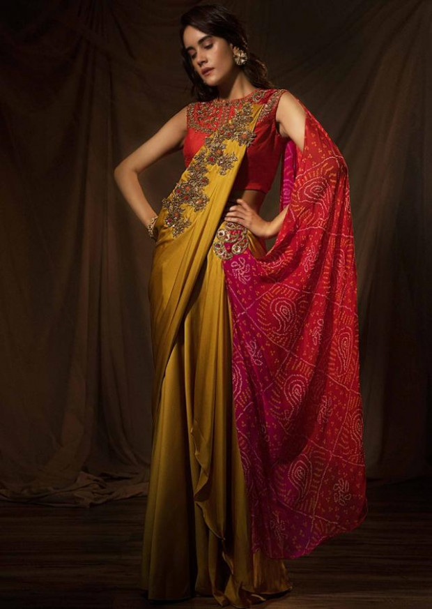 Buy Musard Satin Saree With Ready Pleats And Multi Color