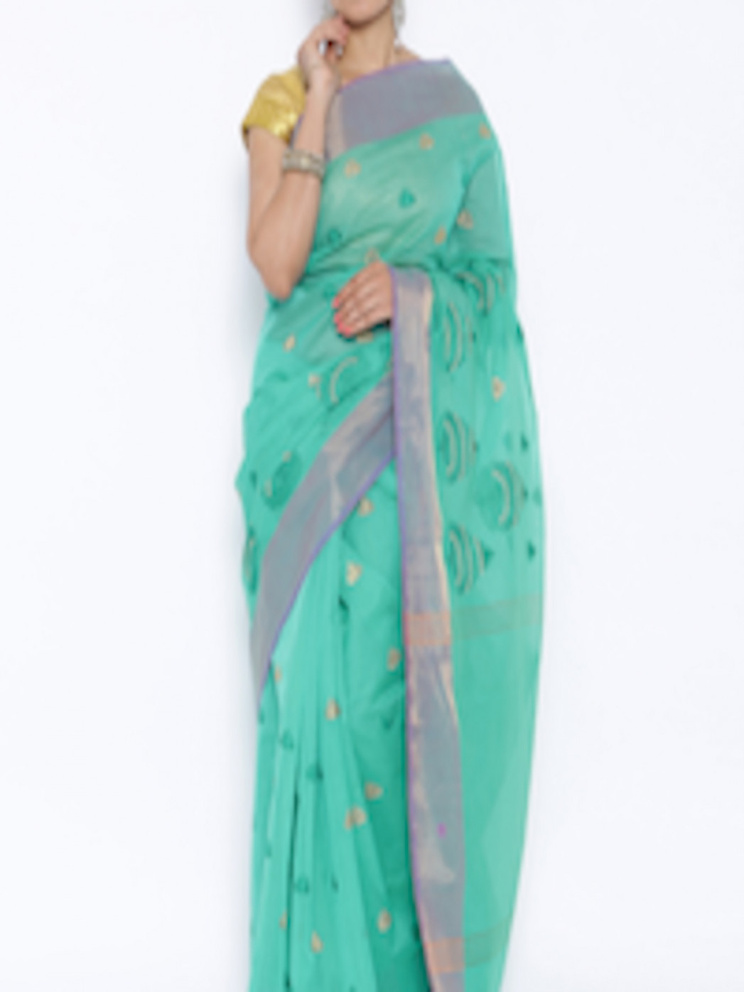 Buy Mysore Saree Udyog Sea Green Silk Embroidered