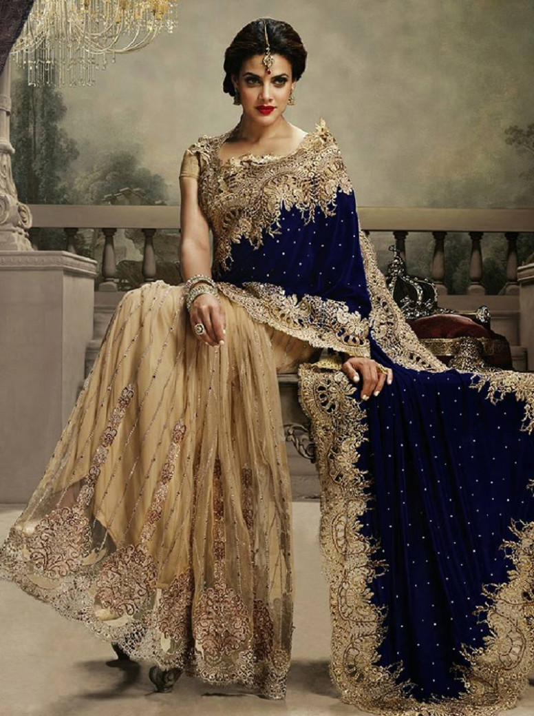 Buy navy blue and chiku embroidered velvet saree with