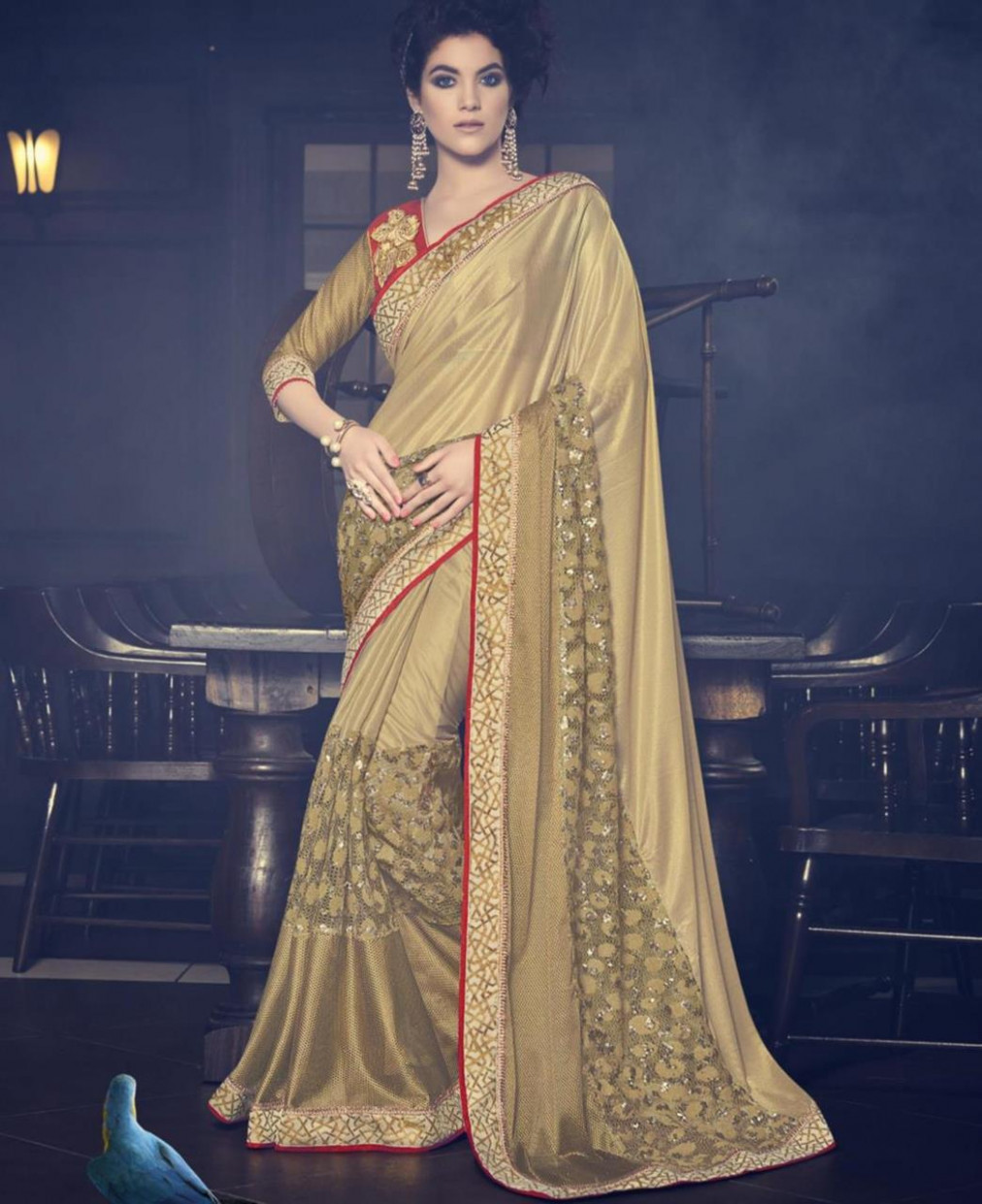 Buy Nice Gold Wedding Saree [117926] at 111.42 د.إ.‏