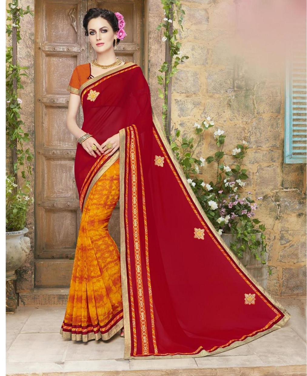 Buy Nice Red & Orange Casual Saree [105746] at 29.92 (AUD)