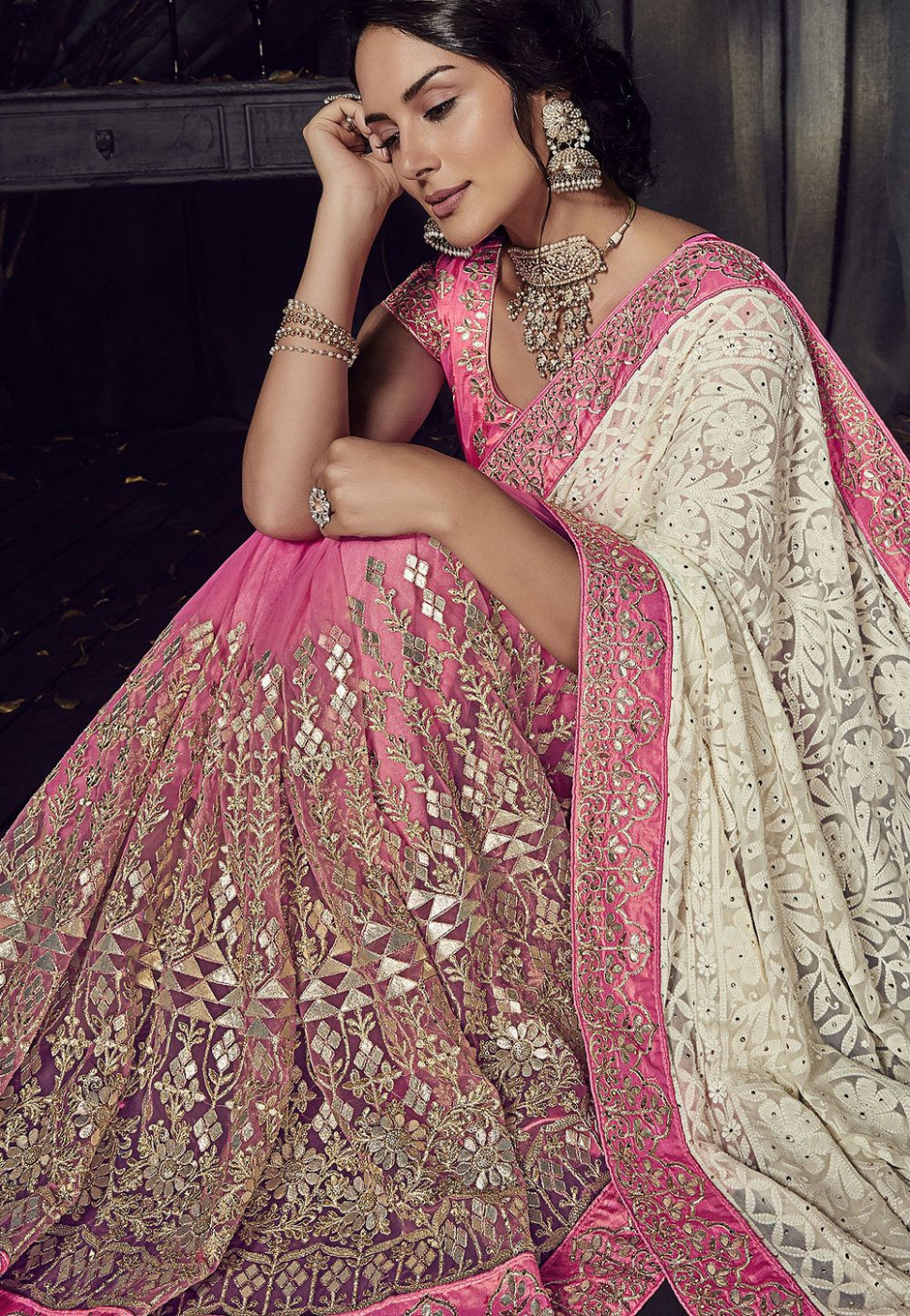 Buy Off White and pink Color Lucknowi designer party wear