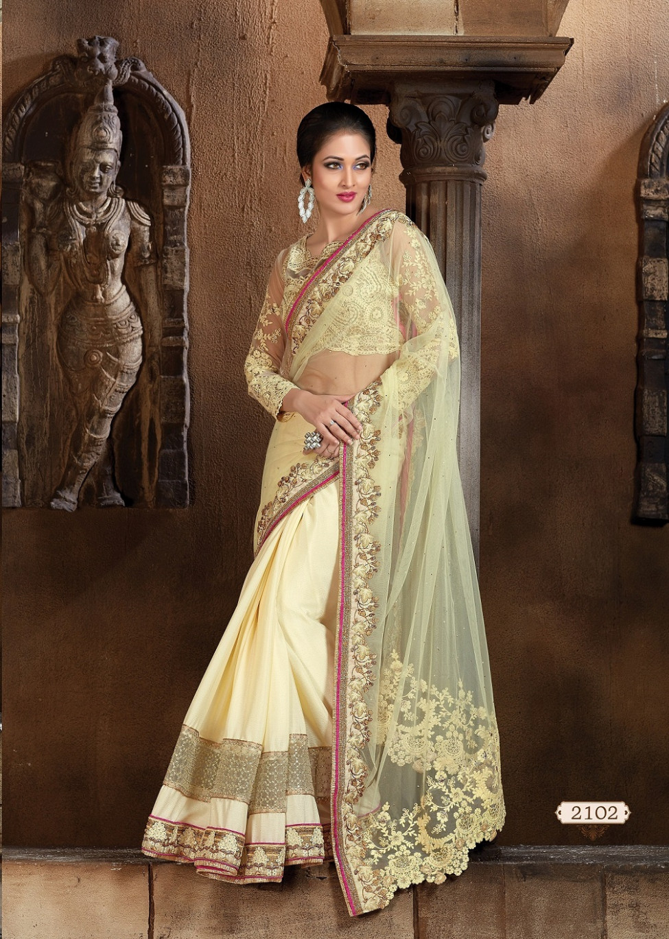 Buy Off white faux chiffon Designer Saree in USA, UK and