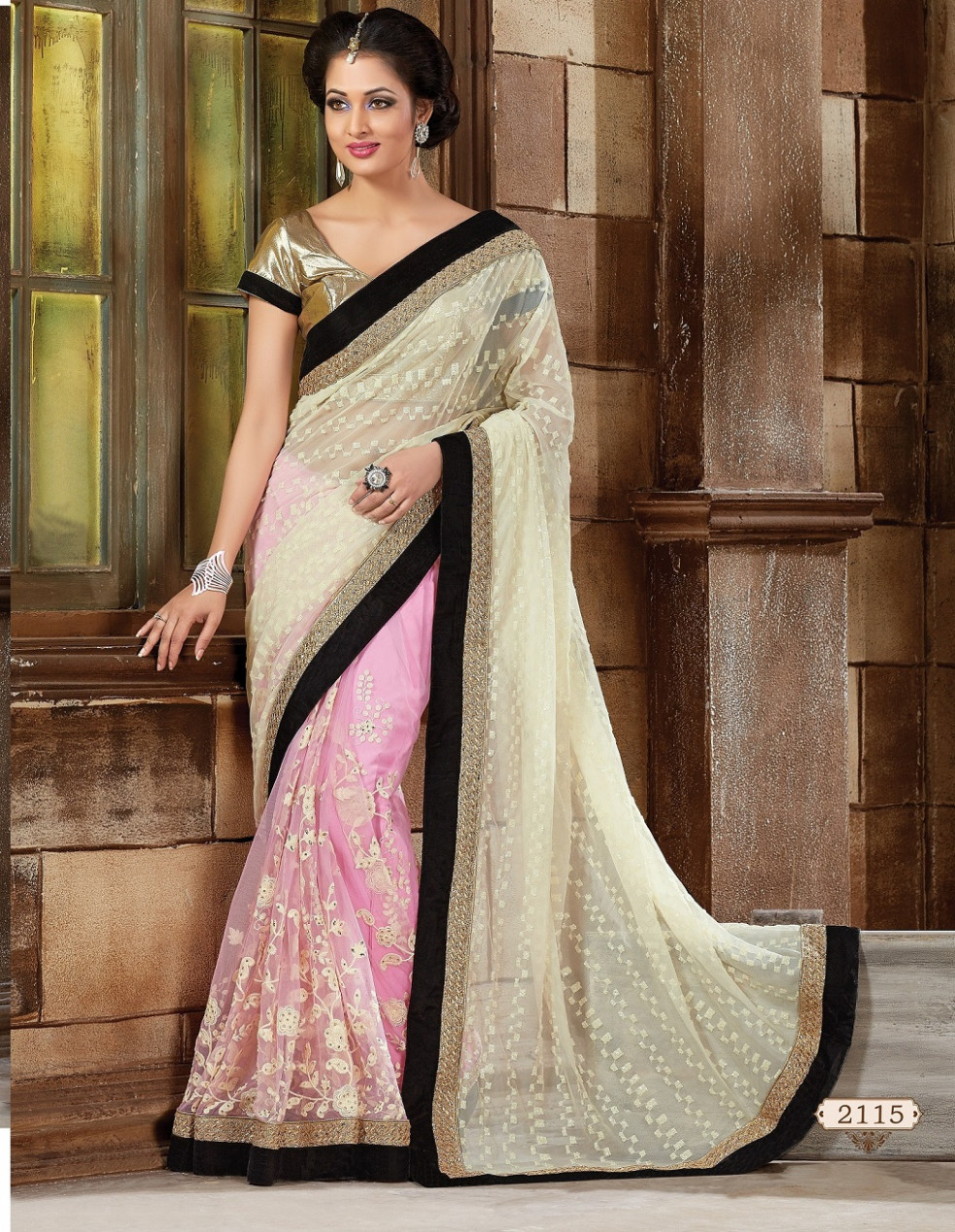 Buy Off white Net Designer Saree in USA, UK and Canada