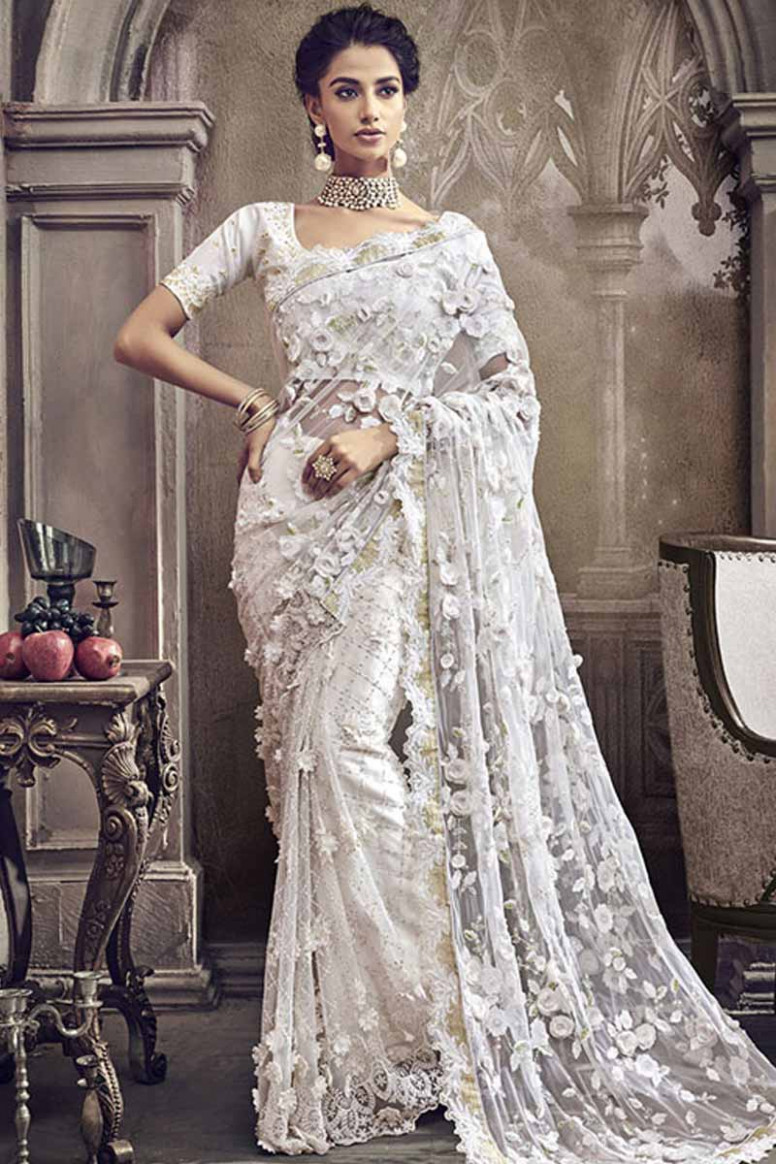 Buy Off White Net Saree With Banglori Silk Blouse Online