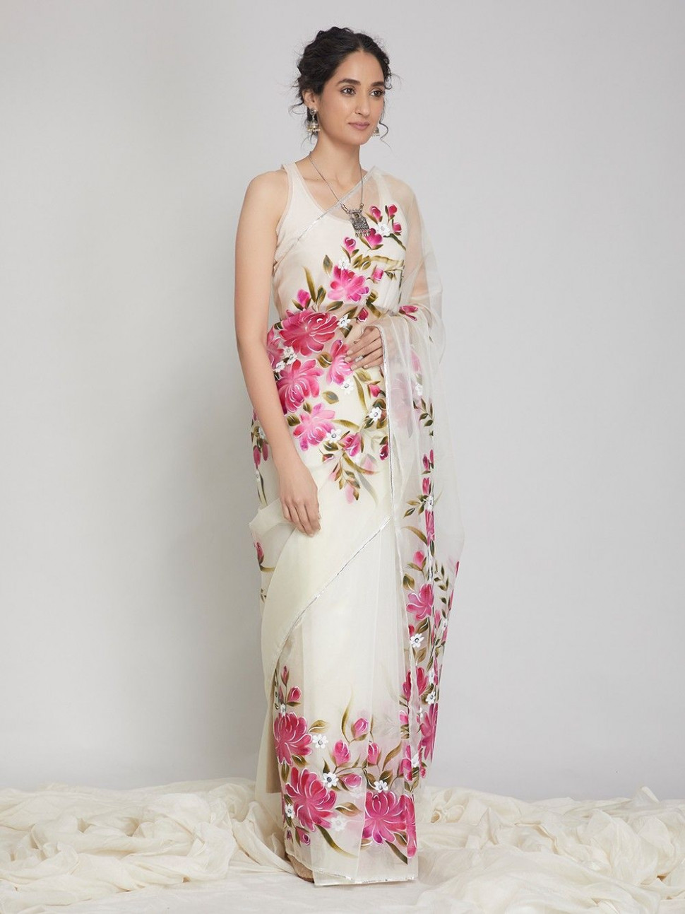 Buy Off White Pink Hand Painted Organza Saree online at
