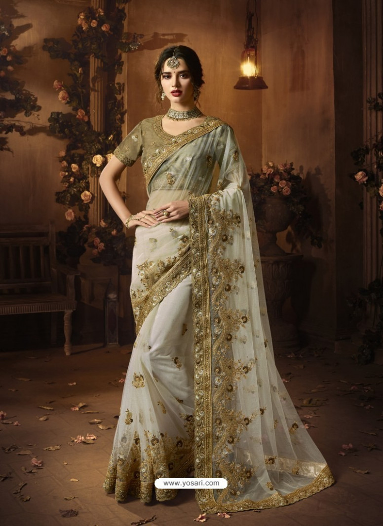 Buy Off White Soft Net Heavy Embroidered Wedding Saree