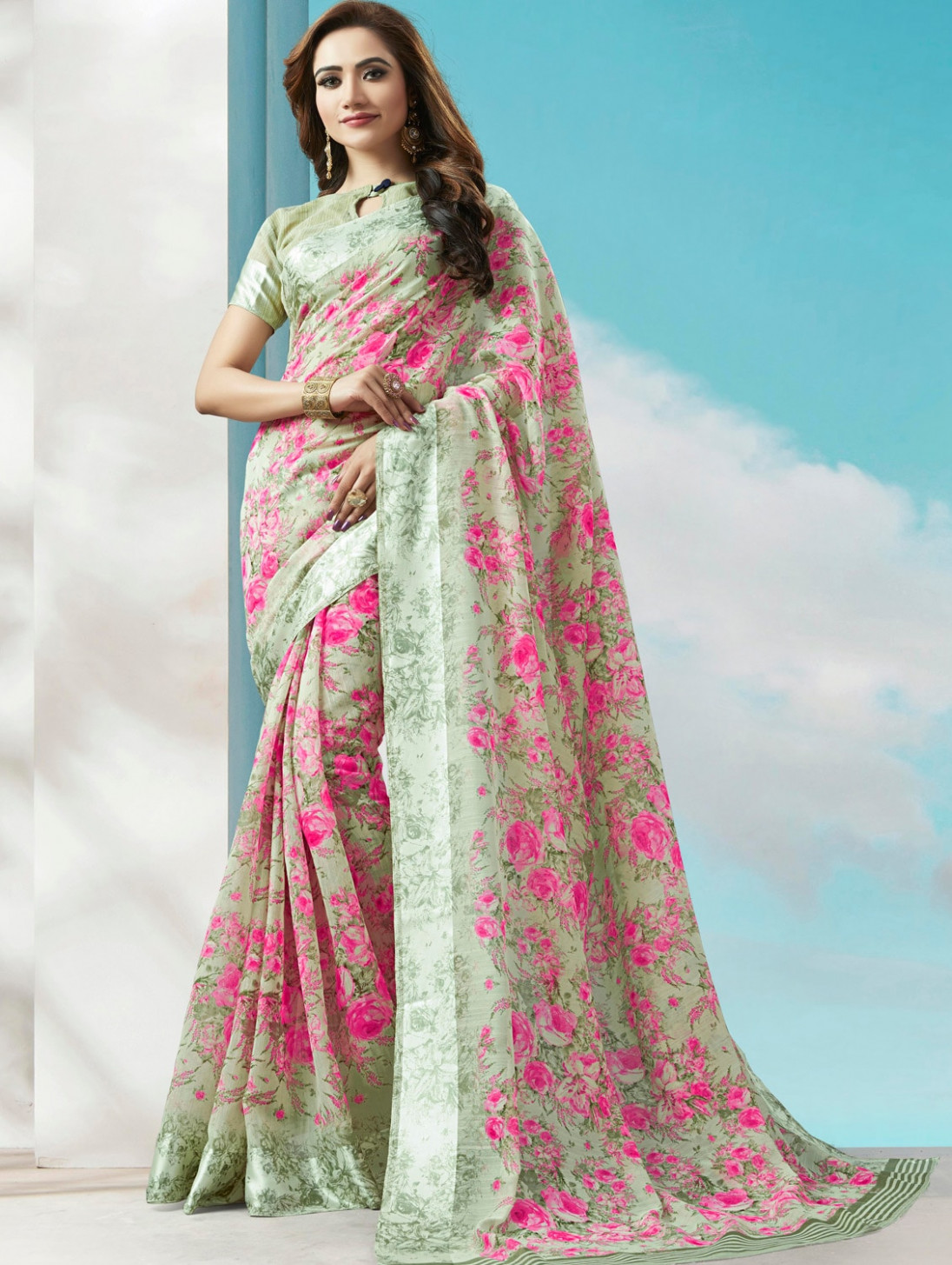 Buy online Floral Digital Printed Linen Saree With Blouse