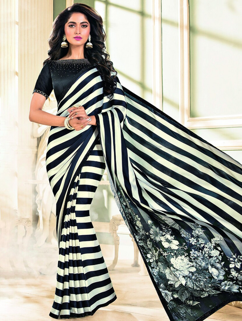 Buy online Monochrome Embellished Striped Saree With