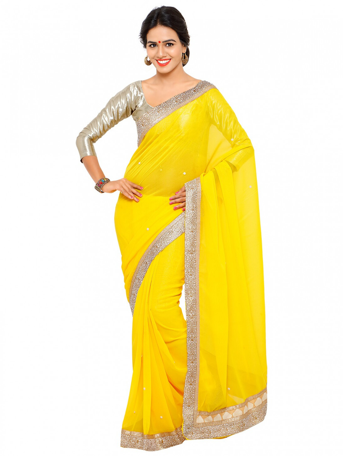 Buy online Stone Embellished Yellow Saree With Blouse from