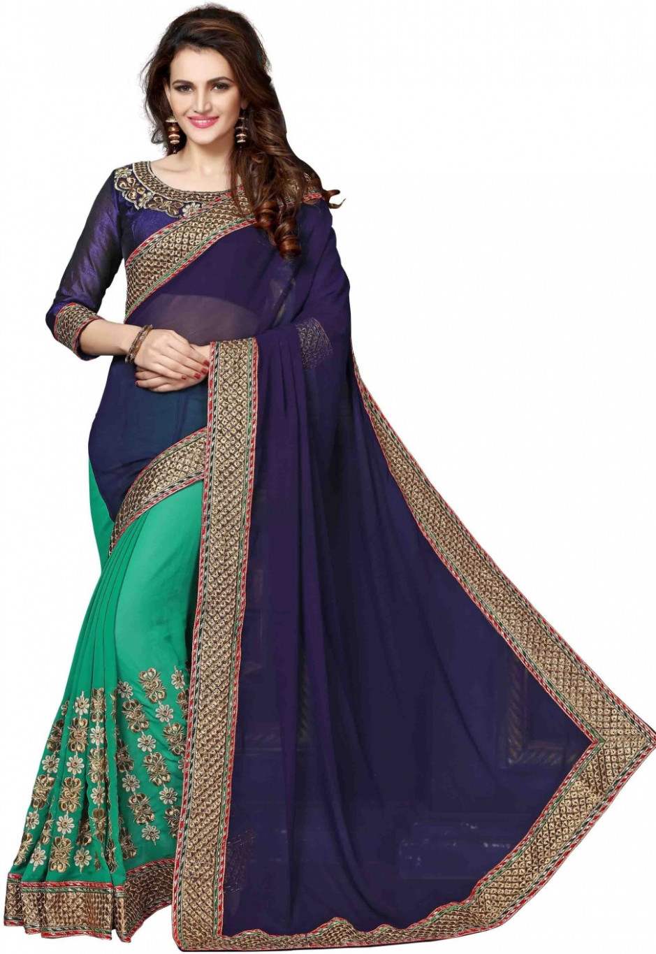 Buy onlinefayda Embroidered Bollywood Georgette Dark Blue