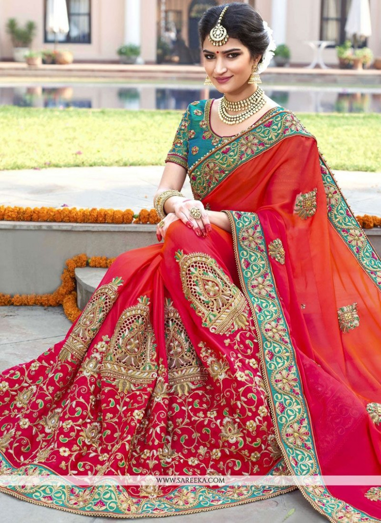 Buy Orange and Red Embroidered Work Fancy Fabric Designer