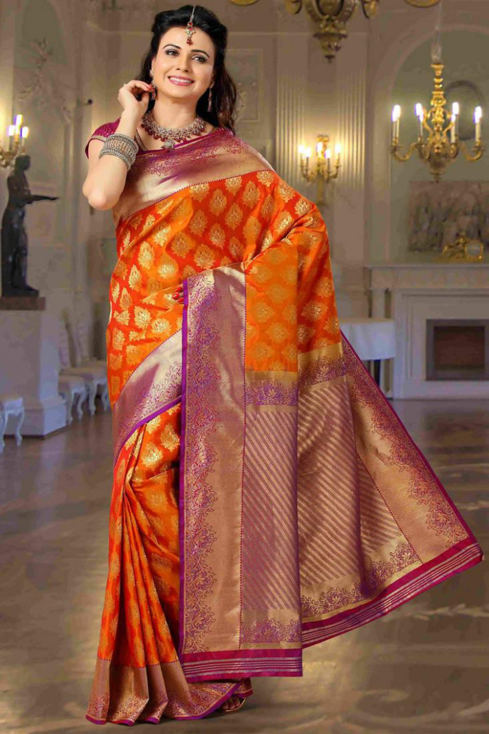 Buy Orange embroidered art-silk saree with blouse Online