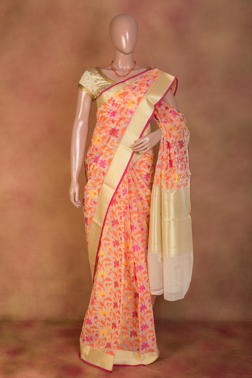Buy Orange Organza Floral Printed Saree Online