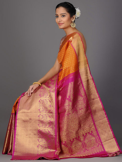 Buy Orange-Pink Kanjivaram Brocade Silk Saree Online at