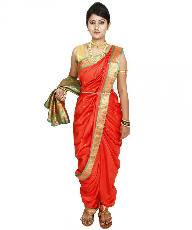 Buy Orange plain cotton silk nauvari saree Online