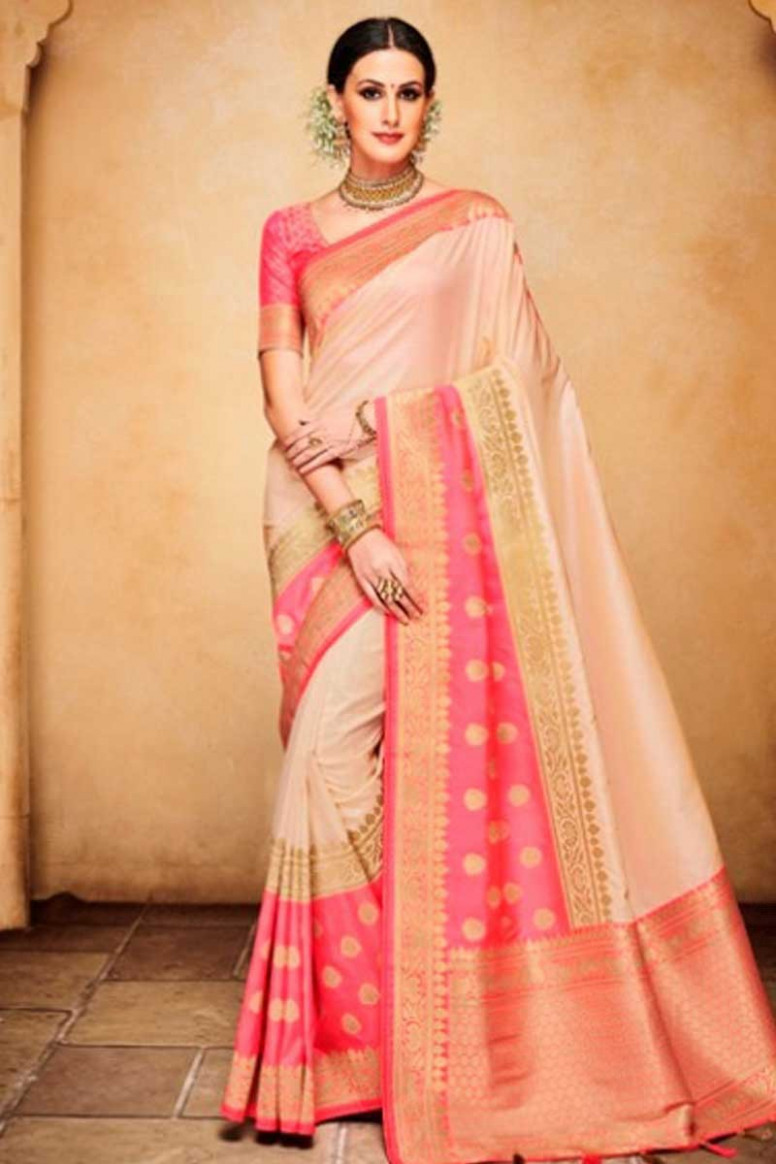 Buy Pale Pink Saree With Silk Blouse Online - SARV0428