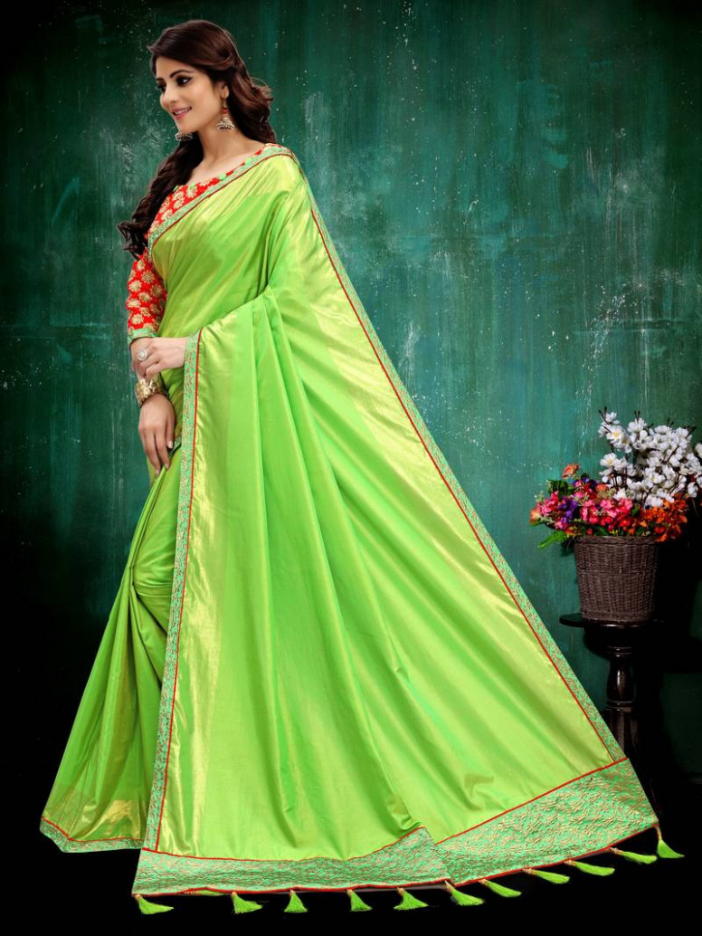 Buy Parrot green plain silk saree with blouse Online
