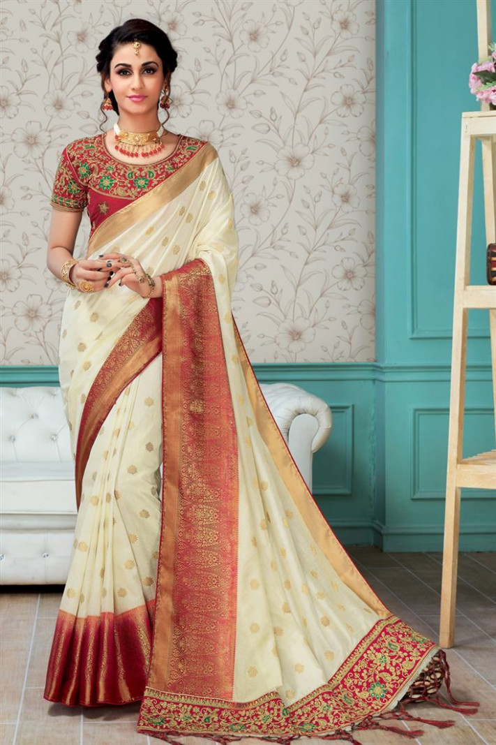 Buy Party Wear Off White Art Silk Embroidered Saree With