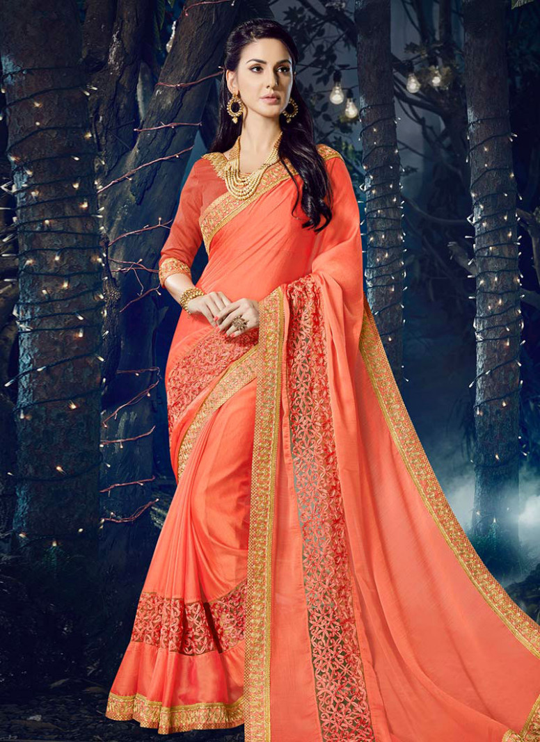 Buy Peach Chiffon Saree, Sequins , Cut Work, sari Online
