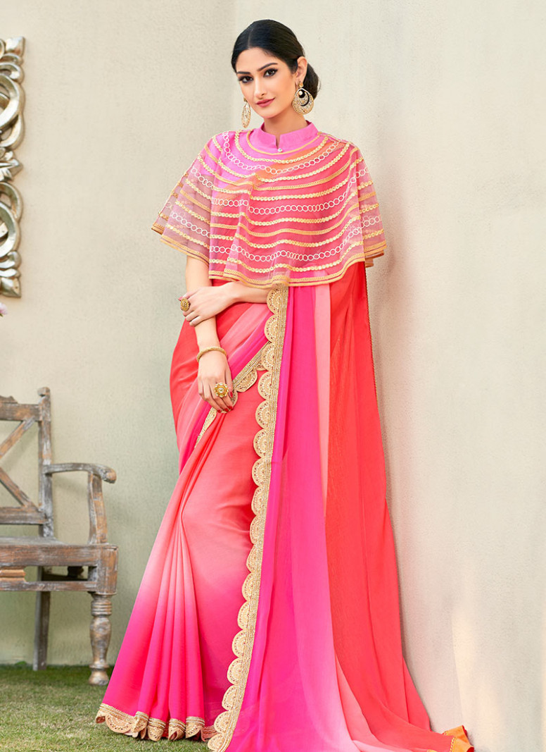 Buy Peach N Pink Georgette Border Saree, Stones