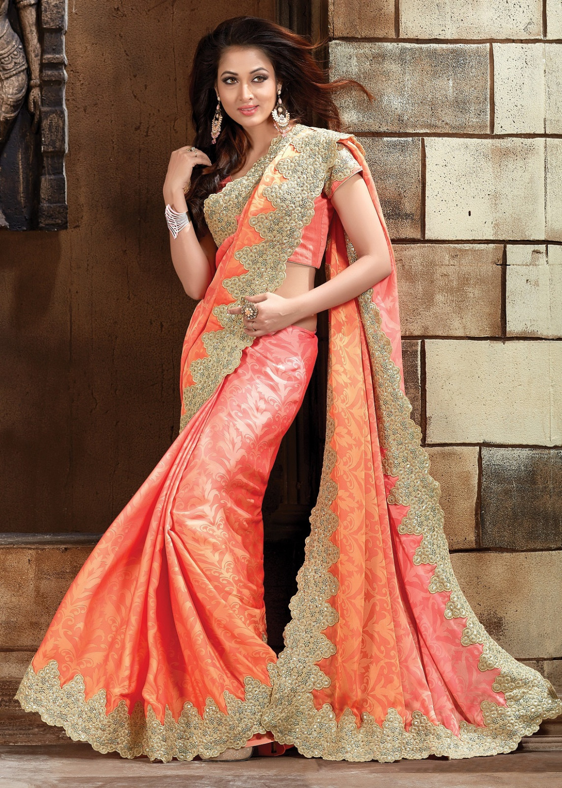 Buy Peach Pure jacquard Designer Saree in USA, UK and Canada