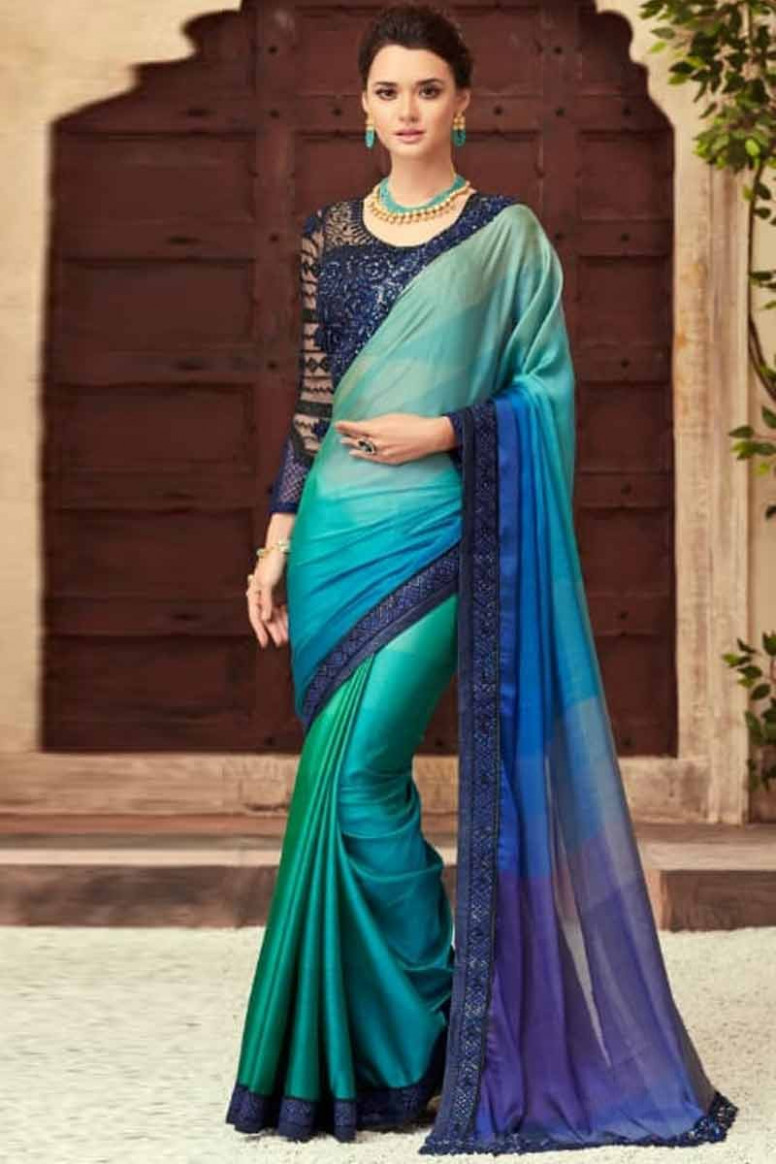 Buy Peacock Color Silk Saree With Silk Blouse Online
