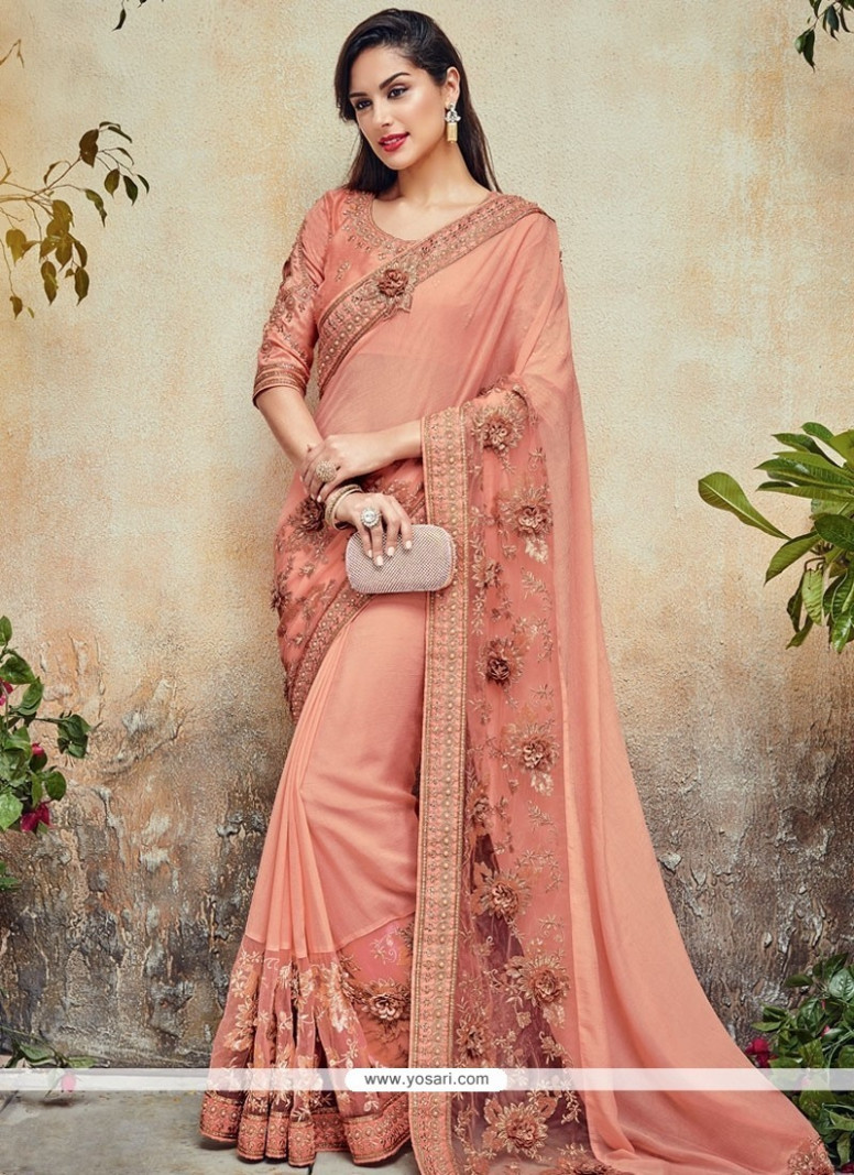 Buy Peppy Net Peach Classic Designer Saree  Wedding Sarees