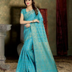 Buy Phenomenal Sky Blue Banarasi Silk Saree  Wedding Sarees