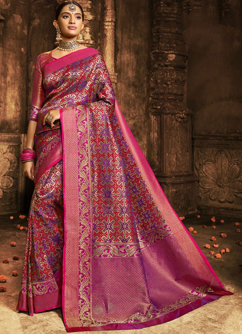 Buy Pink and Purple Wedding Banarasi Silk Classic Saree