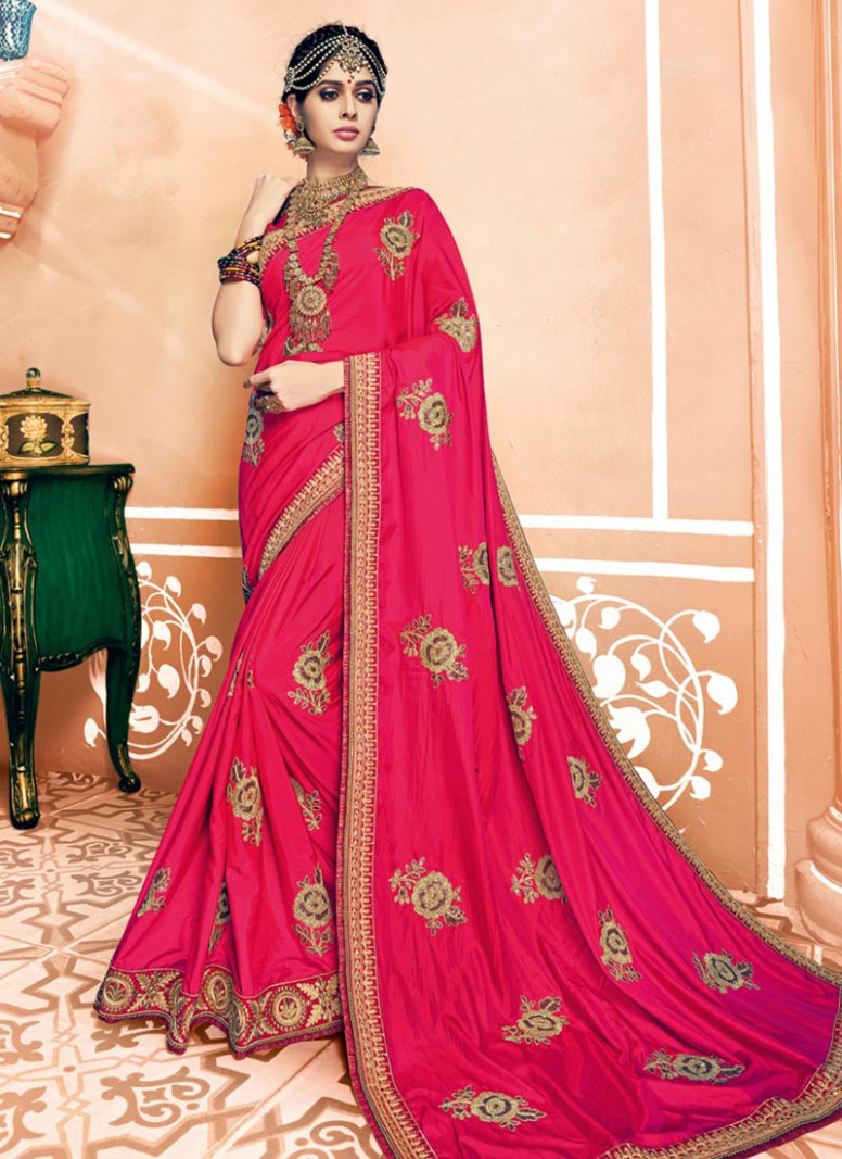 Buy Pink Art Silk Saree, Embroidered, sari Online Shopping