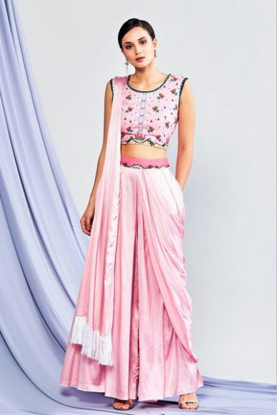Buy Pink Draped Palazzo Saree with Printed Blouse Online