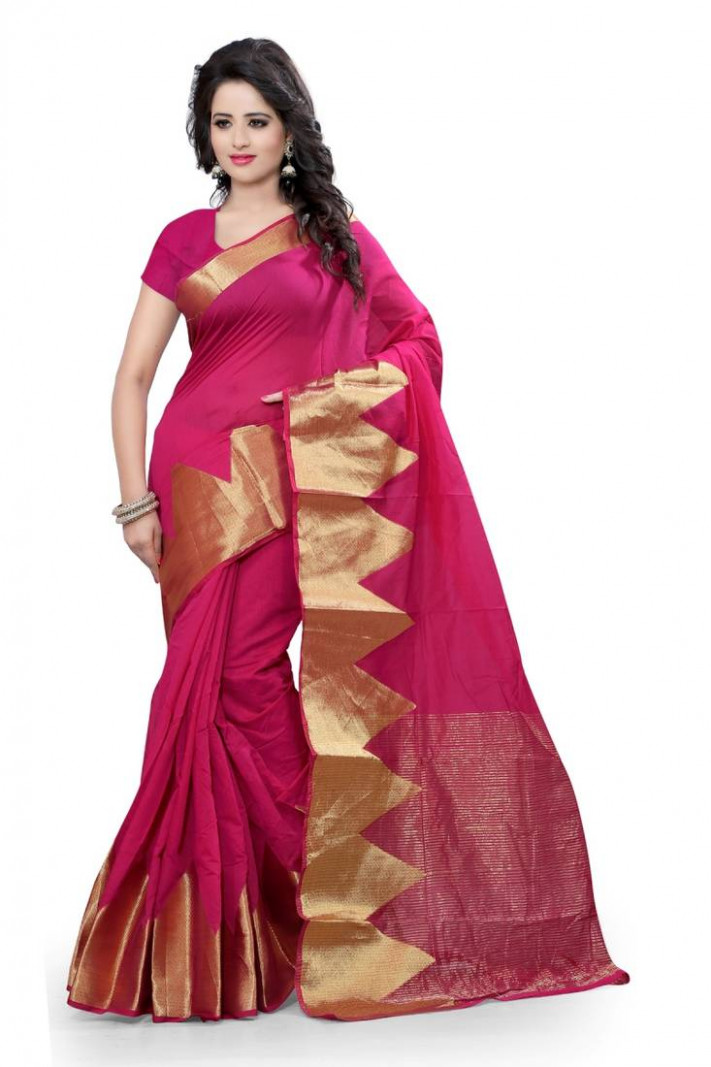 Buy pink embroidered kanjivaram silk saree With Blouse Online