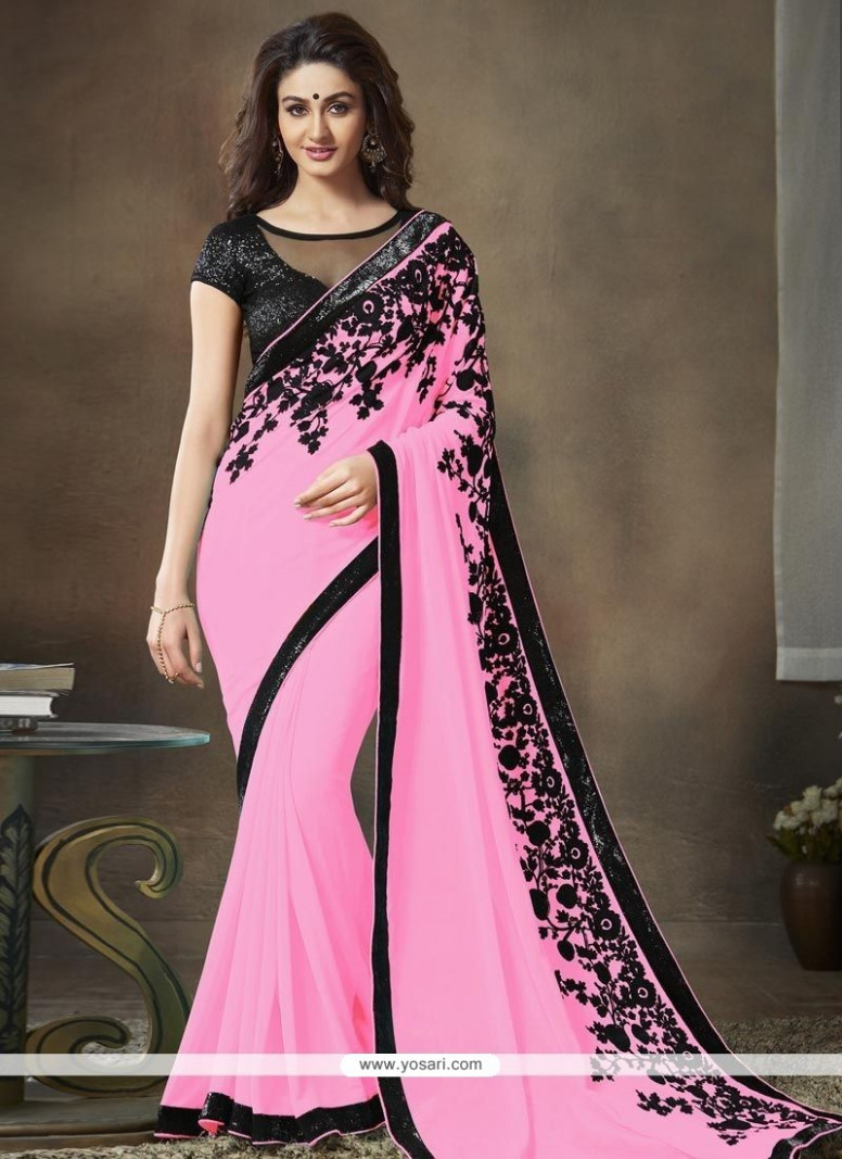 Buy Pink Faux Georgette Saree  Designer Sarees