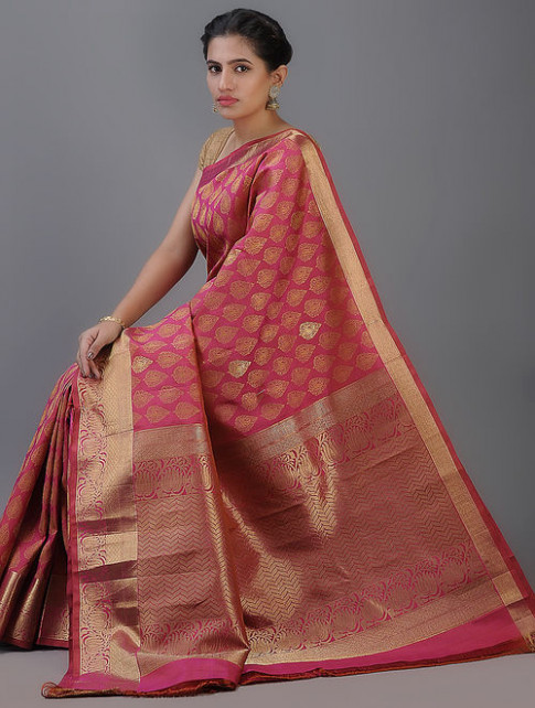Buy Pink Handwoven Kanjivaram Silk Saree Online at Jaypore.com