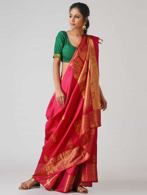 Buy Pink Kanjivaram Silk Saree Online at Jaypore.com