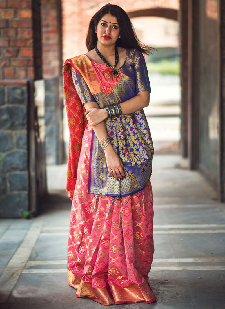 Buy Pink Patola Silk Saree, Patola, sari Online Shopping
