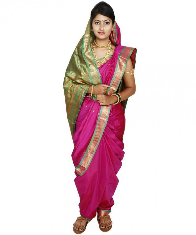 Buy Pink plain cotton silk nauvari saree Online