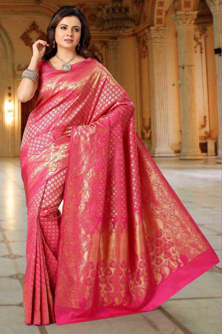Buy Pink Pure Silk Saree with Heavily zari weaved Pallu Online
