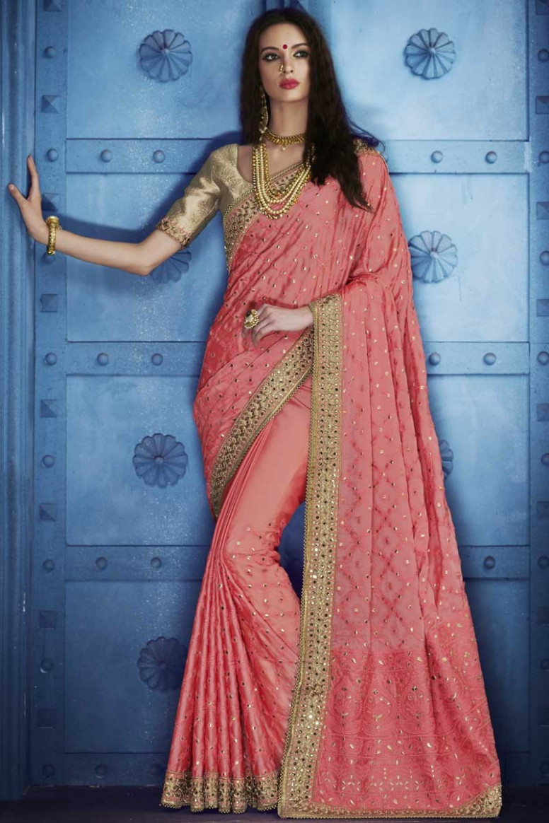 Buy Pink Saree With Golden Colour Blouse Online - SARV0279