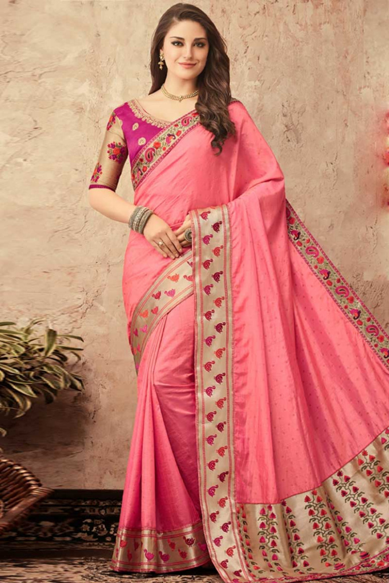 Buy Pink Saree With Purple Colour Blouse Online - SARV0335